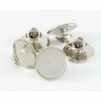 Premium Badge Blank round 18mm silver clutch & clear dome